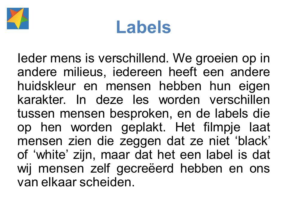 Labels Ieder mens is verschillend.