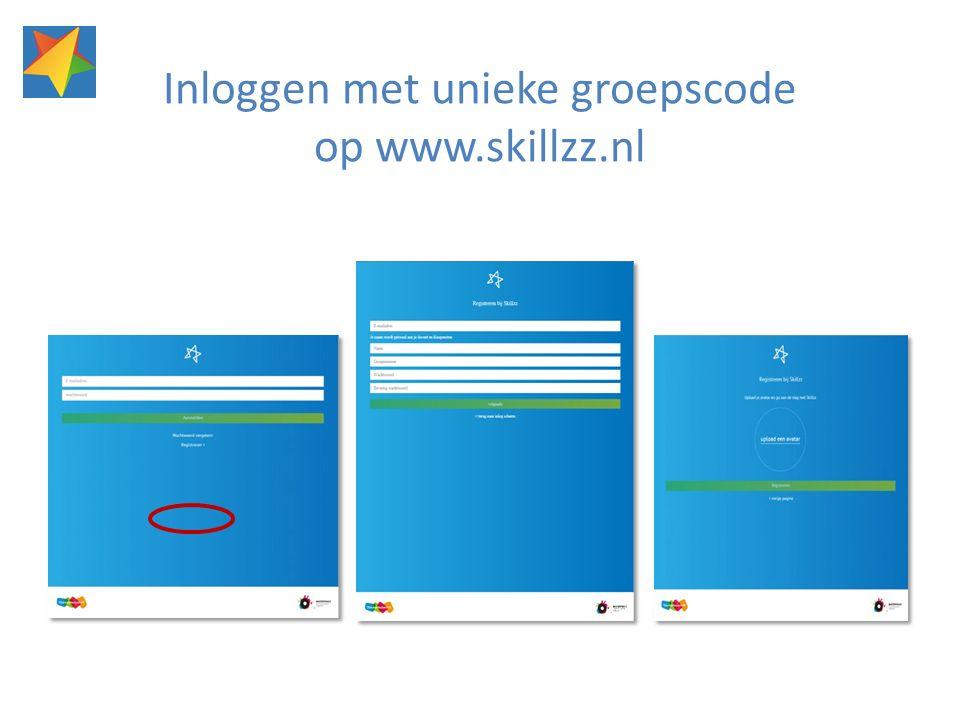 Inloggen met unieke groepscode op www.skillzz.nl