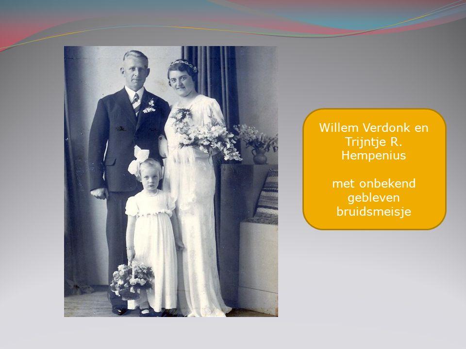Willem Verdonk en Trijntje R. Hempenius met onbekend gebleven bruidsmeisje