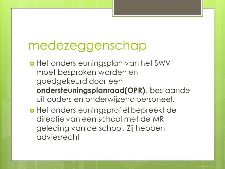 medezeggenschap  Het ondersteuningsplan van het SWV moet besproken worden en goedgekeurd door een ondersteuningsplanraad(OPR), bestaande uit ouders e