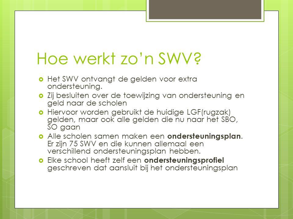 Hoe werkt zo'n SWV?  Het SWV ontvangt de gelden voor extra ondersteuning.  Zij besluiten over de toewijzing van ondersteuning en geld naar de schole