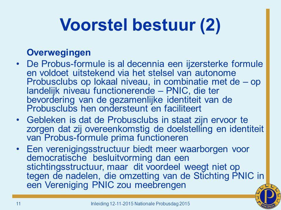 Voorstel bestuur (2) Overwegingen De Probus-formule is al decennia een ijzersterke formule en voldoet uitstekend via het stelsel van autonome Probusclubs op lokaal niveau, in combinatie met de – op landelijk niveau functionerende – PNIC, die ter bevordering van de gezamenlijke identiteit van de Probusclubs hen ondersteunt en faciliteert Gebleken is dat de Probusclubs in staat zijn ervoor te zorgen dat zij overeenkomstig de doelstelling en identiteit van Probus-formule prima functioneren Een verenigingsstructuur biedt meer waarborgen voor democratische besluitvorming dan een stichtingsstructuur, maar dit voordeel weegt niet op tegen de nadelen, die omzetting van de Stichting PNIC in een Vereniging PNIC zou meebrengen 11Inleiding 12-11-2015 Nationale Probusdag 2015
