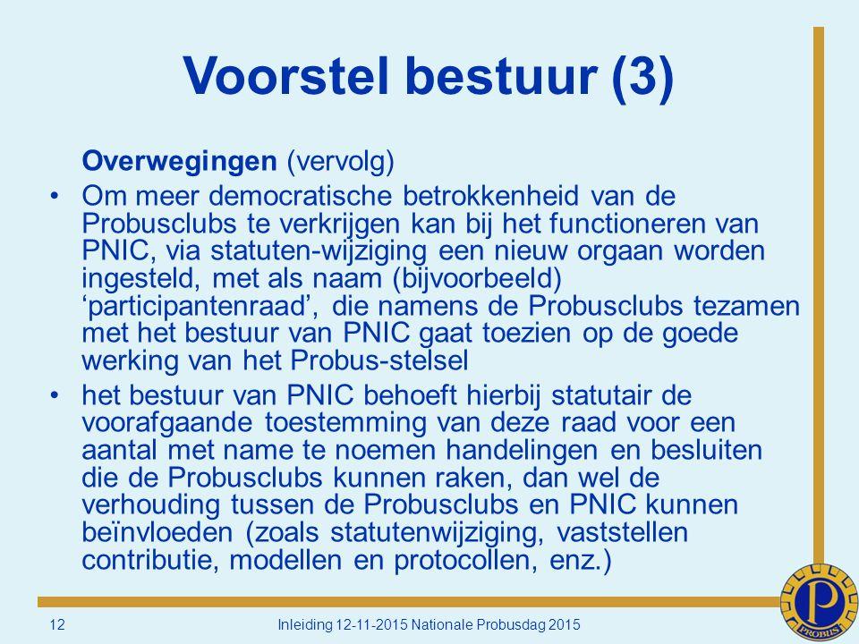 Voorstel bestuur (3) Overwegingen (vervolg) Om meer democratische betrokkenheid van de Probusclubs te verkrijgen kan bij het functioneren van PNIC, via statuten-wijziging een nieuw orgaan worden ingesteld, met als naam (bijvoorbeeld) 'participantenraad', die namens de Probusclubs tezamen met het bestuur van PNIC gaat toezien op de goede werking van het Probus-stelsel het bestuur van PNIC behoeft hierbij statutair de voorafgaande toestemming van deze raad voor een aantal met name te noemen handelingen en besluiten die de Probusclubs kunnen raken, dan wel de verhouding tussen de Probusclubs en PNIC kunnen beïnvloeden (zoals statutenwijziging, vaststellen contributie, modellen en protocollen, enz.) 12Inleiding 12-11-2015 Nationale Probusdag 2015
