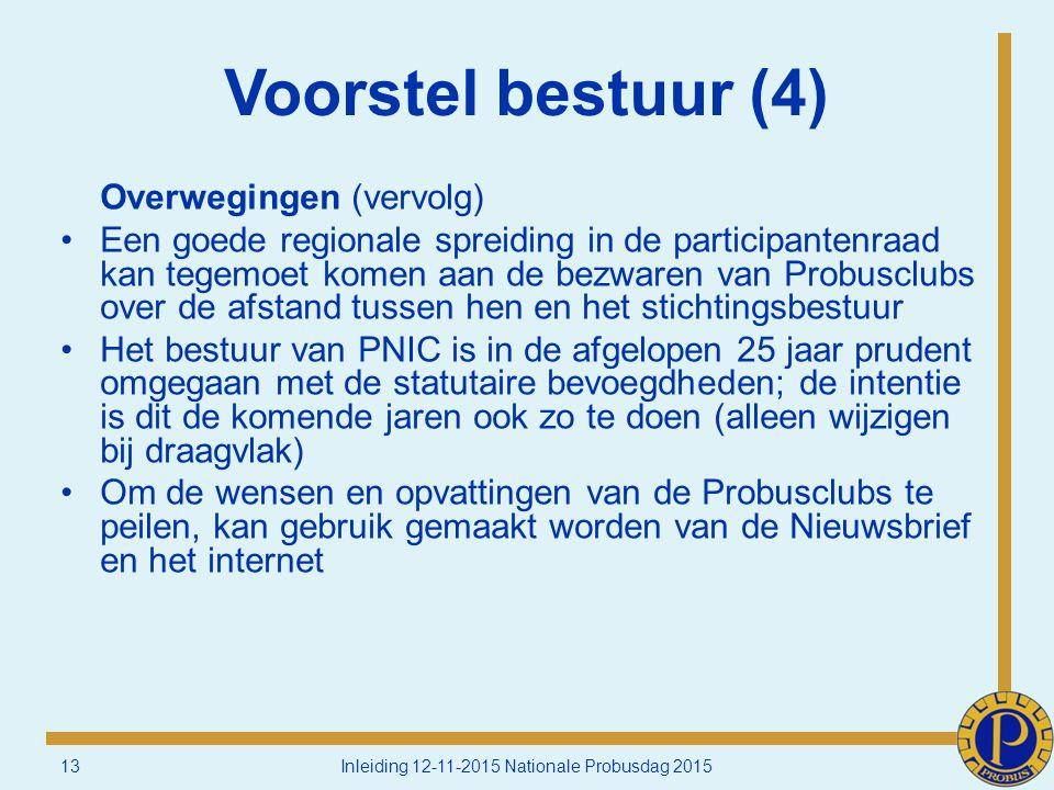 Voorstel bestuur (4) Overwegingen (vervolg) Een goede regionale spreiding in de participantenraad kan tegemoet komen aan de bezwaren van Probusclubs over de afstand tussen hen en het stichtingsbestuur Het bestuur van PNIC is in de afgelopen 25 jaar prudent omgegaan met de statutaire bevoegdheden; de intentie is dit de komende jaren ook zo te doen (alleen wijzigen bij draagvlak) Om de wensen en opvattingen van de Probusclubs te peilen, kan gebruik gemaakt worden van de Nieuwsbrief en het internet 13Inleiding 12-11-2015 Nationale Probusdag 2015
