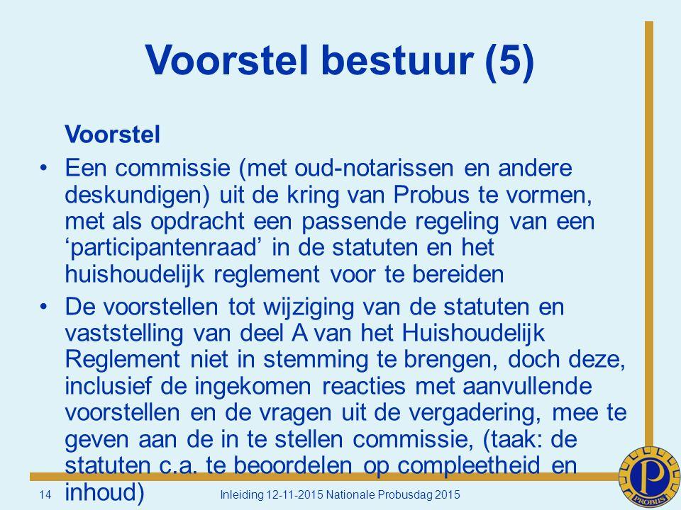 Voorstel bestuur (5) Voorstel Een commissie (met oud-notarissen en andere deskundigen) uit de kring van Probus te vormen, met als opdracht een passende regeling van een 'participantenraad' in de statuten en het huishoudelijk reglement voor te bereiden De voorstellen tot wijziging van de statuten en vaststelling van deel A van het Huishoudelijk Reglement niet in stemming te brengen, doch deze, inclusief de ingekomen reacties met aanvullende voorstellen en de vragen uit de vergadering, mee te geven aan de in te stellen commissie, (taak: de statuten c.a.