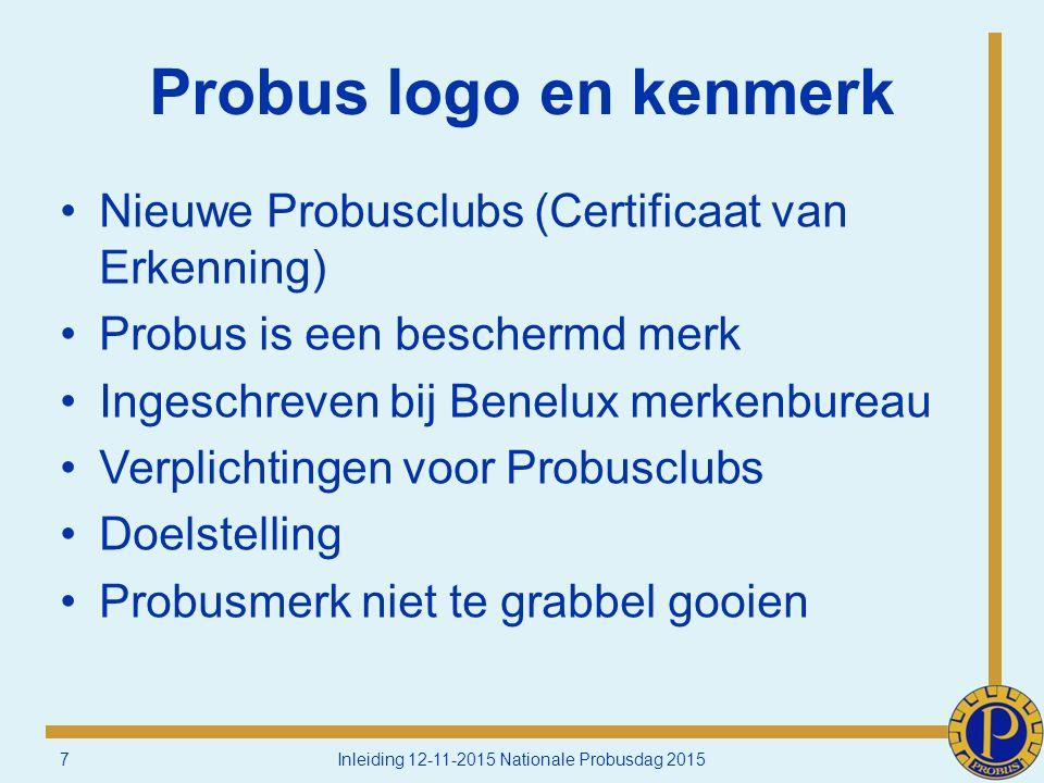 Probus logo en kenmerk Nieuwe Probusclubs (Certificaat van Erkenning) Probus is een beschermd merk Ingeschreven bij Benelux merkenbureau Verplichtingen voor Probusclubs Doelstelling Probusmerk niet te grabbel gooien 7Inleiding 12-11-2015 Nationale Probusdag 2015