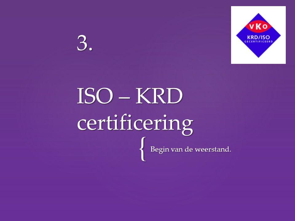 { Begin van de weerstand. 3. ISO – KRD certificering