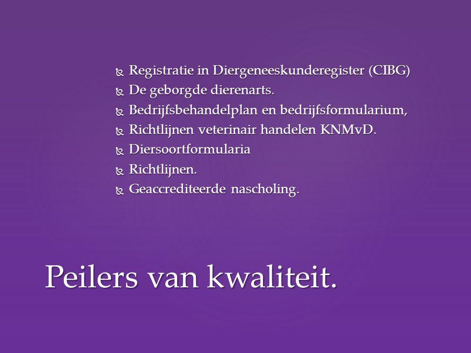  Registratie in Diergeneeskunderegister (CIBG)  De geborgde dierenarts.  Bedrijfsbehandelplan en bedrijfsformularium,  Richtlijnen veterinair hand