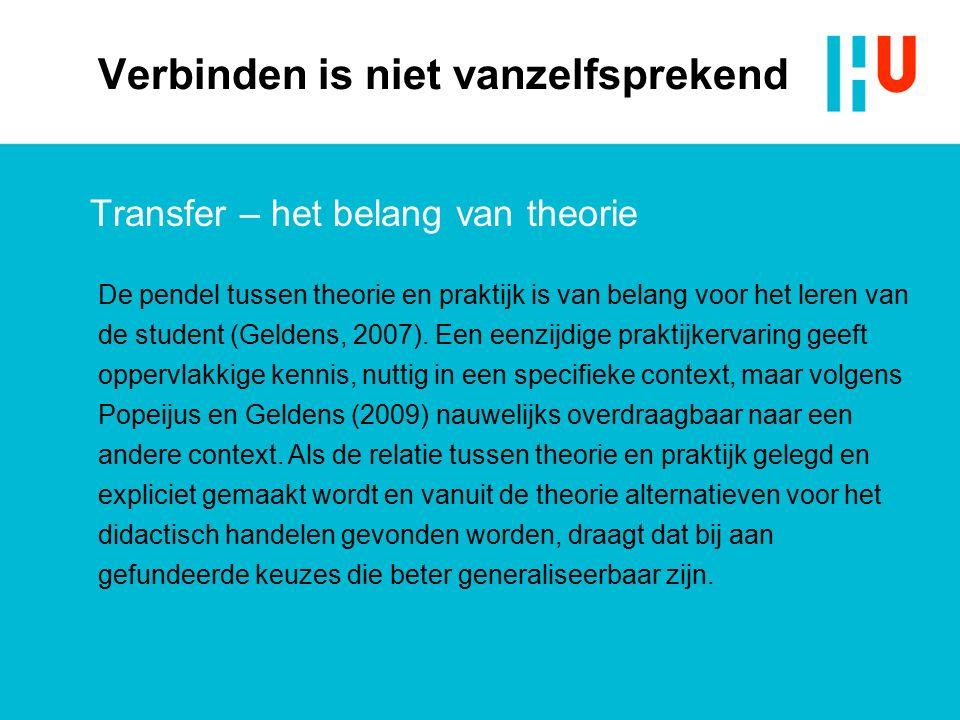 Verbinden is niet vanzelfsprekend Transfer – het belang van theorie De pendel tussen theorie en praktijk is van belang voor het leren van de student (