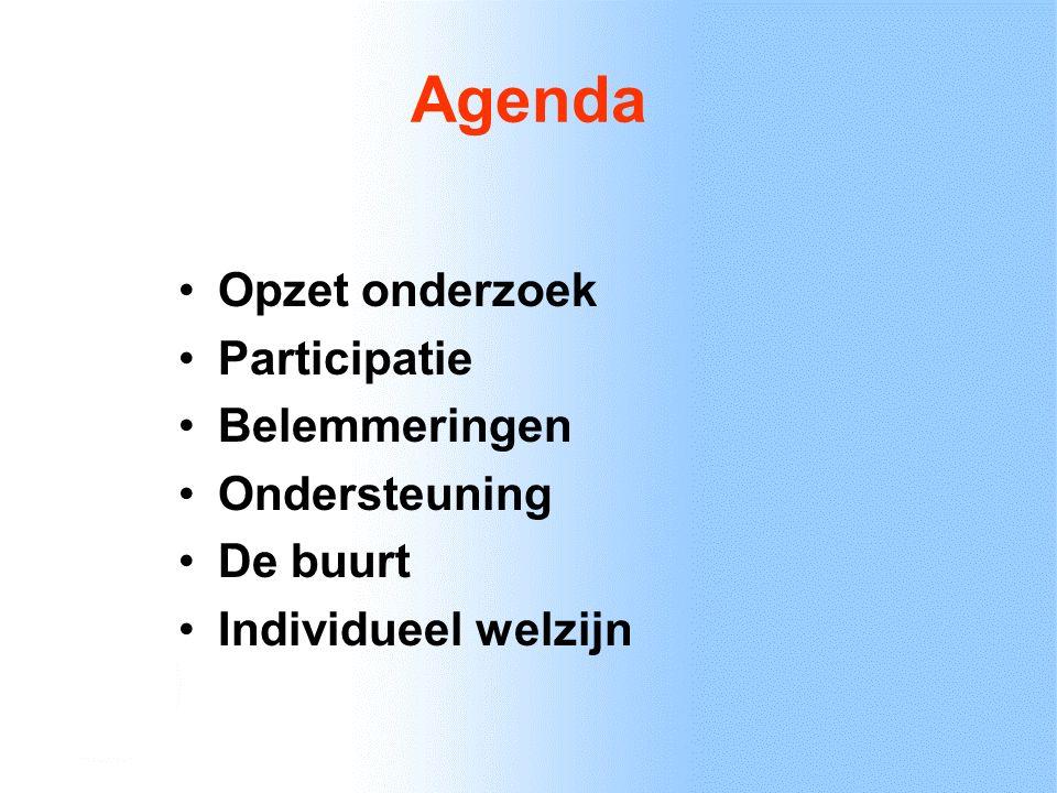 Agenda Opzet onderzoek Participatie Belemmeringen Ondersteuning De buurt Individueel welzijn