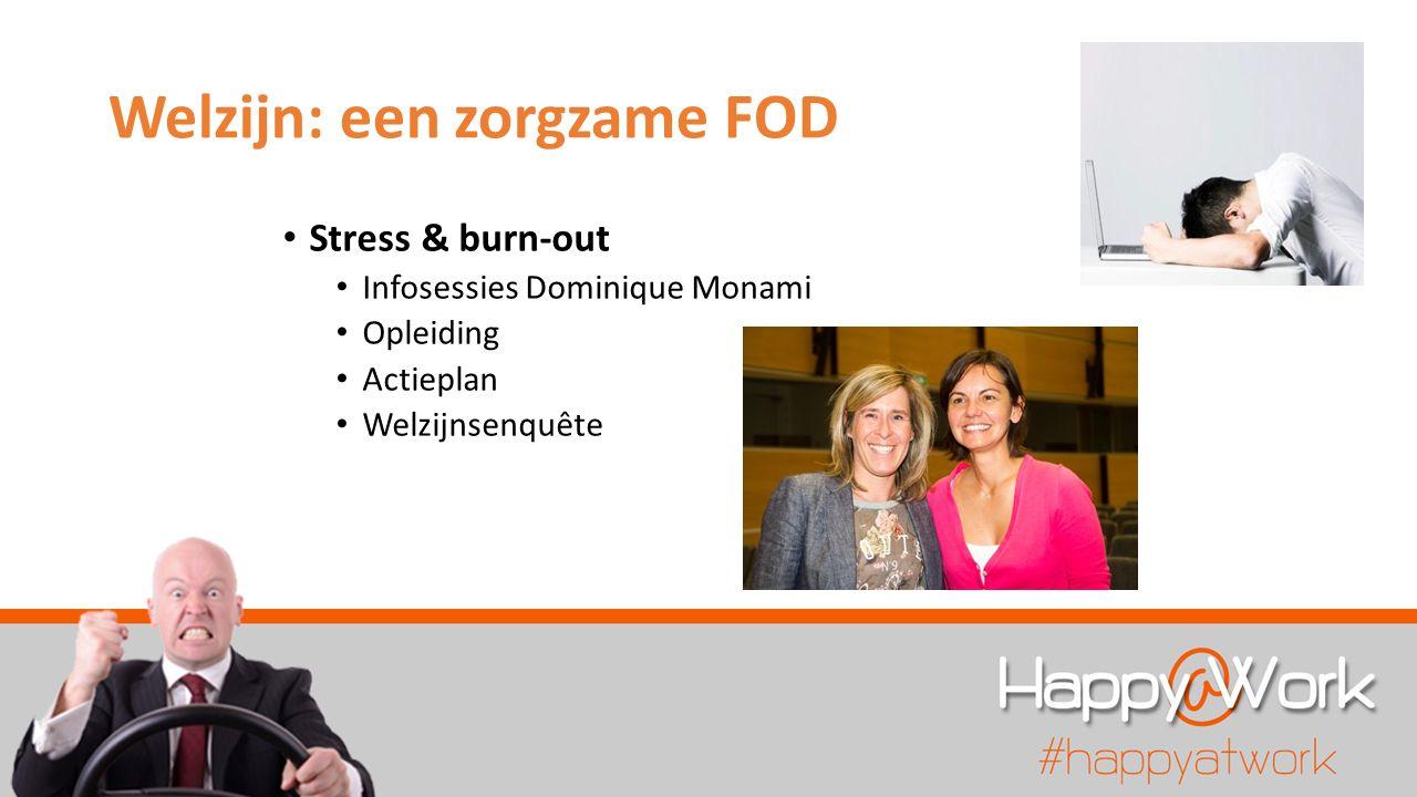 Welzijn: een zorgzame FOD Stress & burn-out Infosessies Dominique Monami Opleiding Actieplan Welzijnsenquête