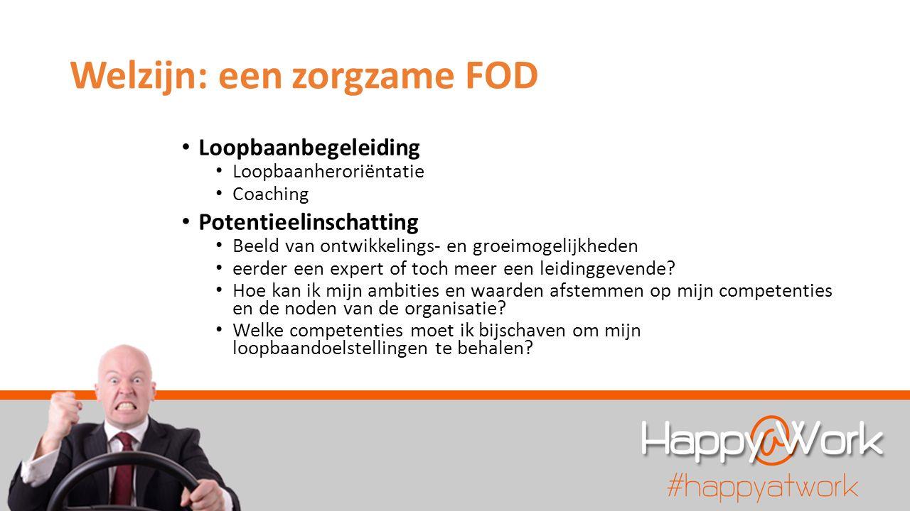 Welzijn: een zorgzame FOD Loopbaanbegeleiding Loopbaanheroriëntatie Coaching Potentieelinschatting Beeld van ontwikkelings- en groeimogelijkheden eerder een expert of toch meer een leidinggevende.