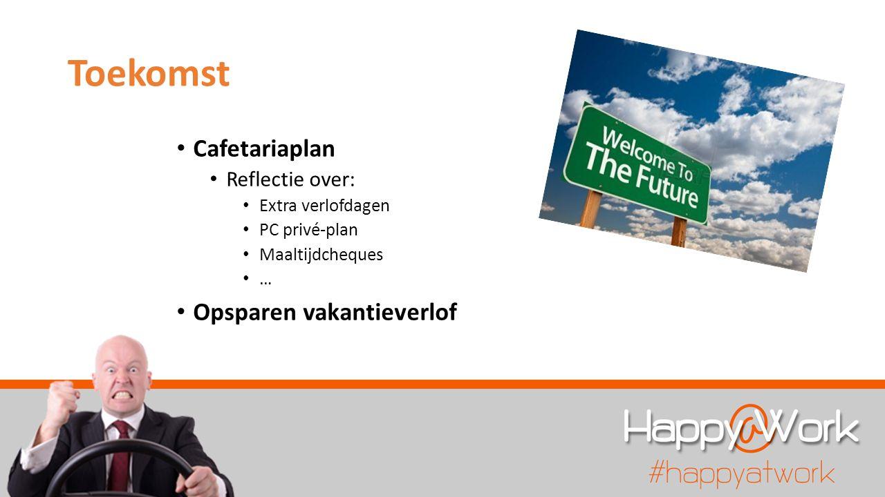 Toekomst Cafetariaplan Reflectie over: Extra verlofdagen PC privé-plan Maaltijdcheques … Opsparen vakantieverlof