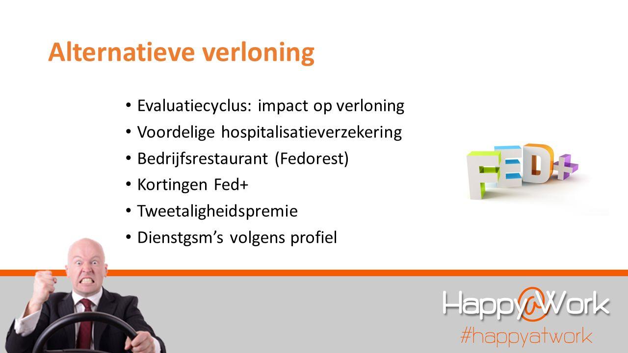 Alternatieve verloning Evaluatiecyclus: impact op verloning Voordelige hospitalisatieverzekering Bedrijfsrestaurant (Fedorest) Kortingen Fed+ Tweetali