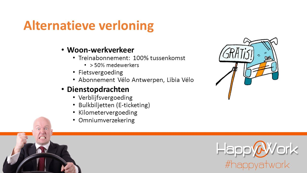 Alternatieve verloning Woon-werkverkeer Treinabonnement: 100% tussenkomst > 50% medewerkers Fietsvergoeding Abonnement Vélo Antwerpen, Libia Vélo Dienstopdrachten Verblijfsvergoeding Bulkbiljetten (E-ticketing) Kilometervergoeding Omniumverzekering