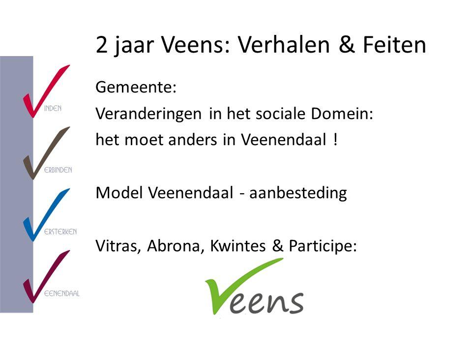 2 jaar Veens: Verhalen & Feiten Gemeente: Veranderingen in het sociale Domein: het moet anders in Veenendaal ! Model Veenendaal - aanbesteding Vitras,