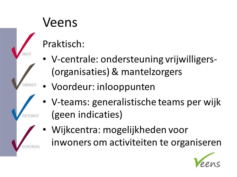 Veens Praktisch: V-centrale: ondersteuning vrijwilligers- (organisaties) & mantelzorgers Voordeur: inlooppunten V-teams: generalistische teams per wij