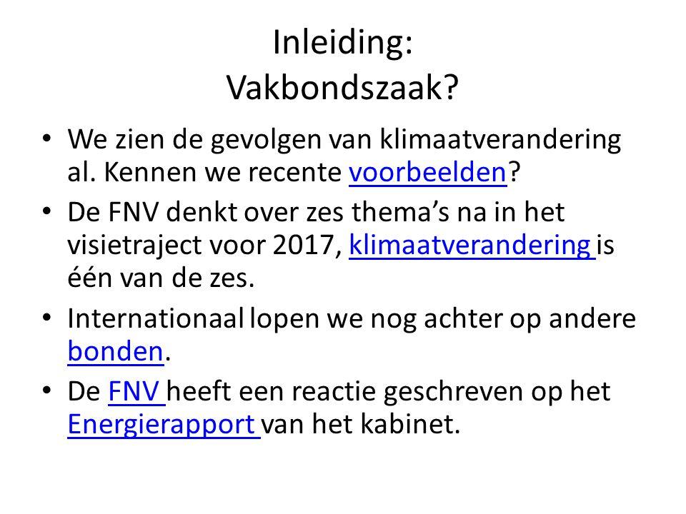 Inleiding: Vakbondszaak? We zien de gevolgen van klimaatverandering al. Kennen we recente voorbeelden?voorbeelden De FNV denkt over zes thema's na in
