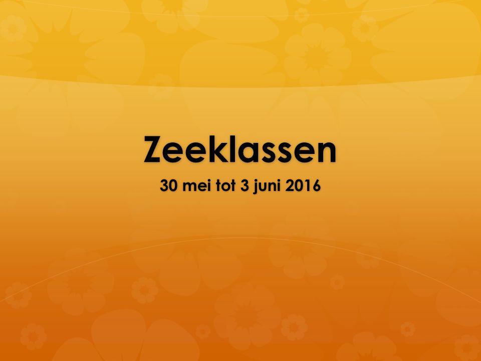 Zeeklassen 30 mei tot 3 juni 2016