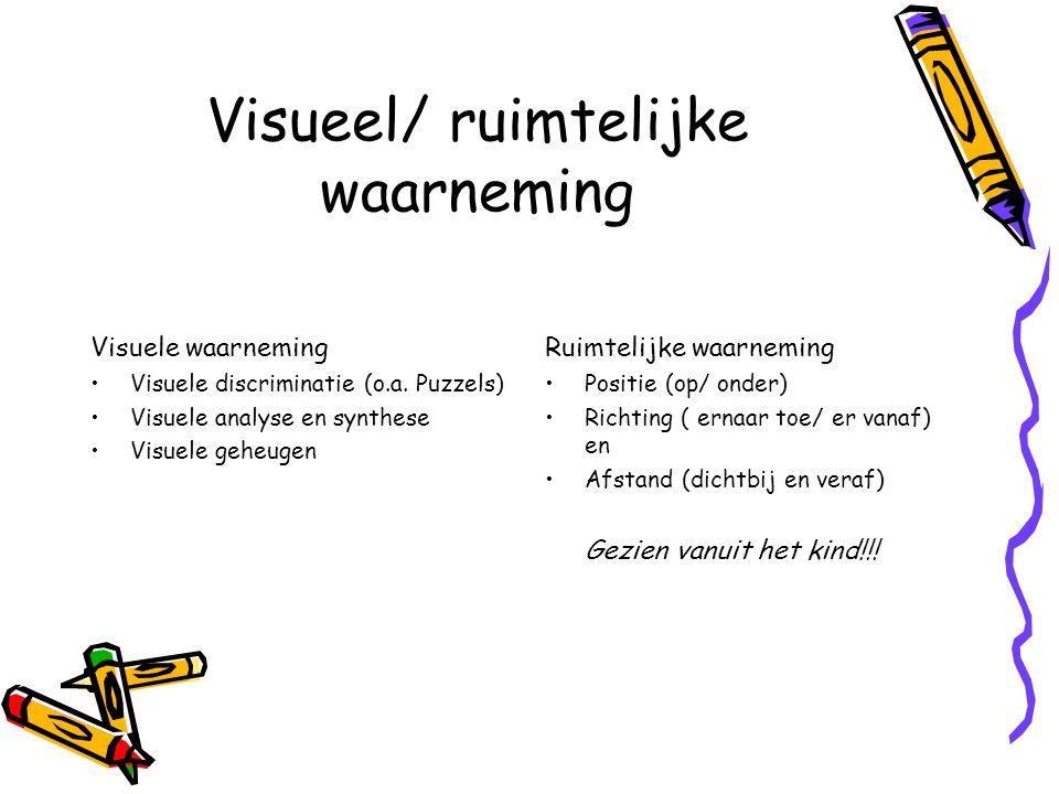 Visueel/ ruimtelijke waarneming Visuele waarneming Visuele discriminatie (o.a.