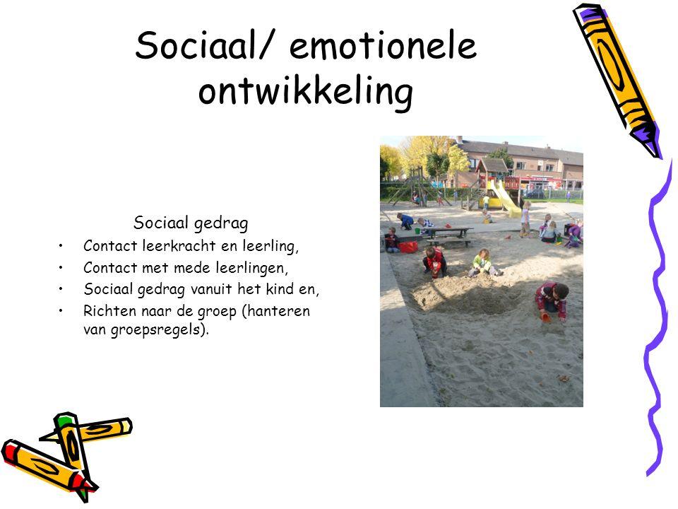 Sociaal/ emotionele ontwikkeling Sociaal gedrag Contact leerkracht en leerling, Contact met mede leerlingen, Sociaal gedrag vanuit het kind en, Richten naar de groep (hanteren van groepsregels).