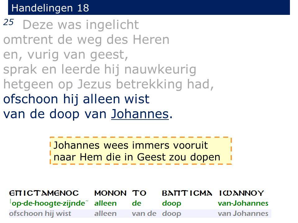 Handelingen 18 25 Deze was ingelicht omtrent de weg des Heren en, vurig van geest, sprak en leerde hij nauwkeurig hetgeen op Jezus betrekking had, ofschoon hij alleen wist van de doop van Johannes.