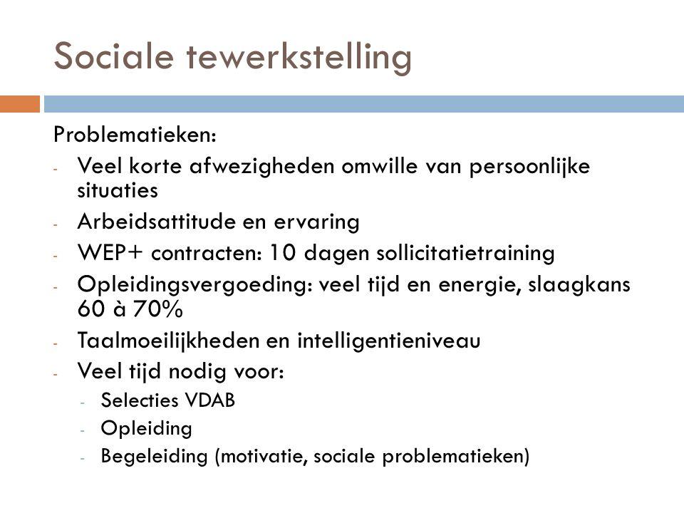 Sociale tewerkstelling Problematieken: - Veel korte afwezigheden omwille van persoonlijke situaties - Arbeidsattitude en ervaring - WEP+ contracten: 1