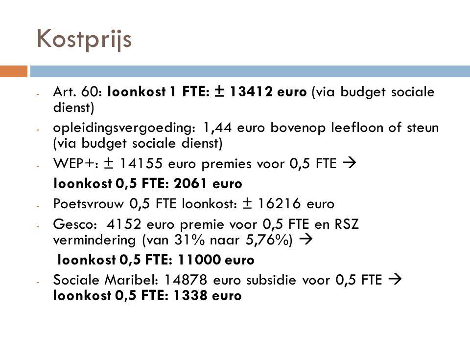 Kostprijs - Art. 60: loonkost 1 FTE: ± 13412 euro (via budget sociale dienst) - opleidingsvergoeding: 1,44 euro bovenop leefloon of steun (via budget