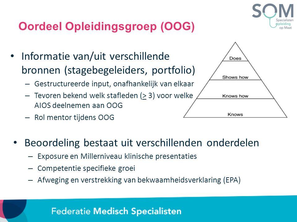 Beoordeling bestaat uit verschillenden onderdelen – Exposure en Millerniveau klinische presentaties – Competentie specifieke groei – Afweging en verstrekking van bekwaamheidsverklaring (EPA) Oordeel Opleidingsgroep (OOG) Informatie van/uit verschillende bronnen (stagebegeleiders, portfolio) – Gestructureerde input, onafhankelijk van elkaar – Tevoren bekend welk stafleden (> 3) voor welke AIOS deelnemen aan OOG – Rol mentor tijdens OOG