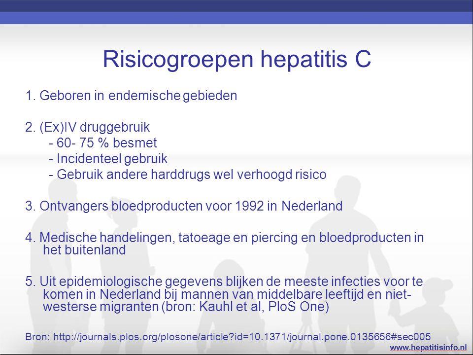 Risicogroepen hepatitis C 1. Geboren in endemische gebieden 2.