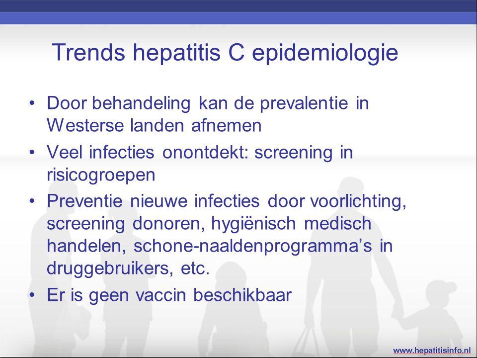 Trends hepatitis C epidemiologie Door behandeling kan de prevalentie in Westerse landen afnemen Veel infecties onontdekt: screening in risicogroepen Preventie nieuwe infecties door voorlichting, screening donoren, hygiënisch medisch handelen, schone-naaldenprogramma's in druggebruikers, etc.
