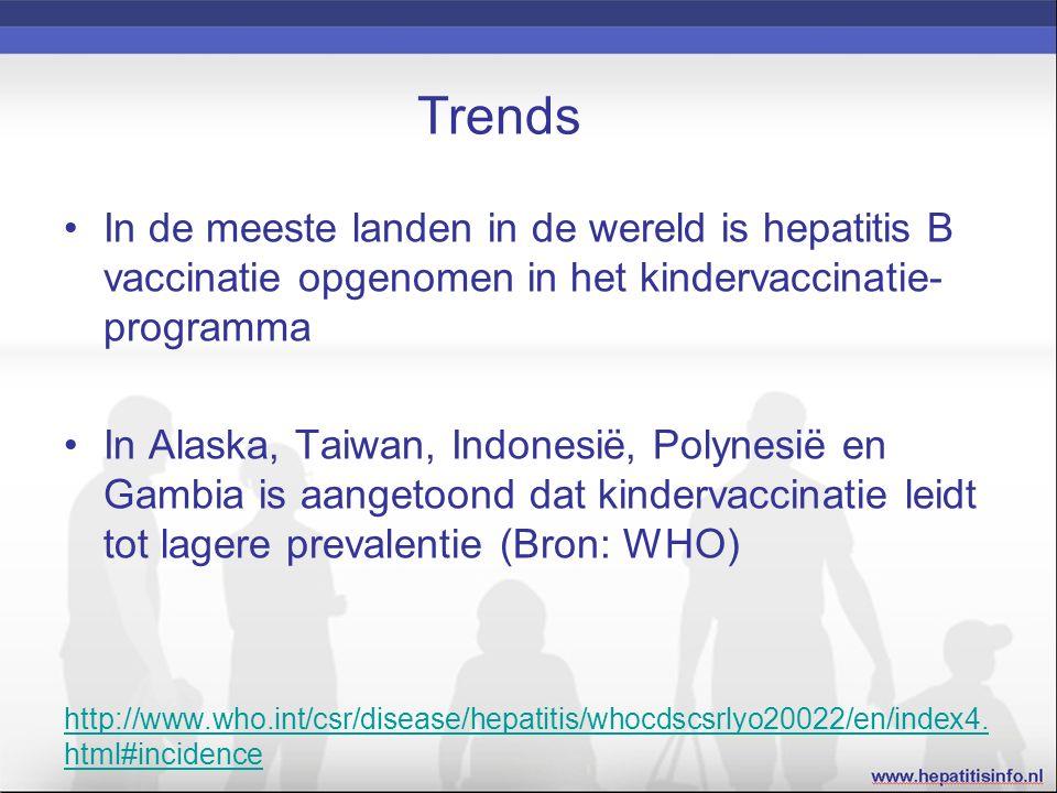 Trends In de meeste landen in de wereld is hepatitis B vaccinatie opgenomen in het kindervaccinatie- programma In Alaska, Taiwan, Indonesië, Polynesië en Gambia is aangetoond dat kindervaccinatie leidt tot lagere prevalentie (Bron: WHO) http://www.who.int/csr/disease/hepatitis/whocdscsrlyo20022/en/index4.