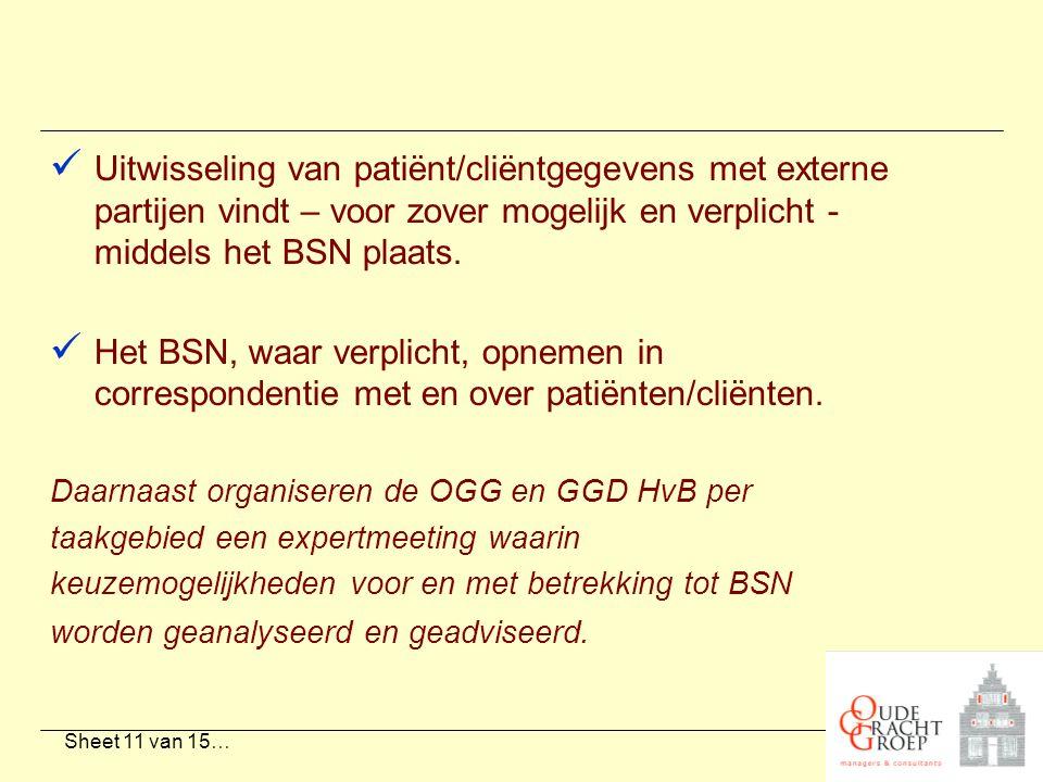 Sheet 11 van 15… Uitwisseling van patiënt/cliëntgegevens met externe partijen vindt – voor zover mogelijk en verplicht - middels het BSN plaats. Het B