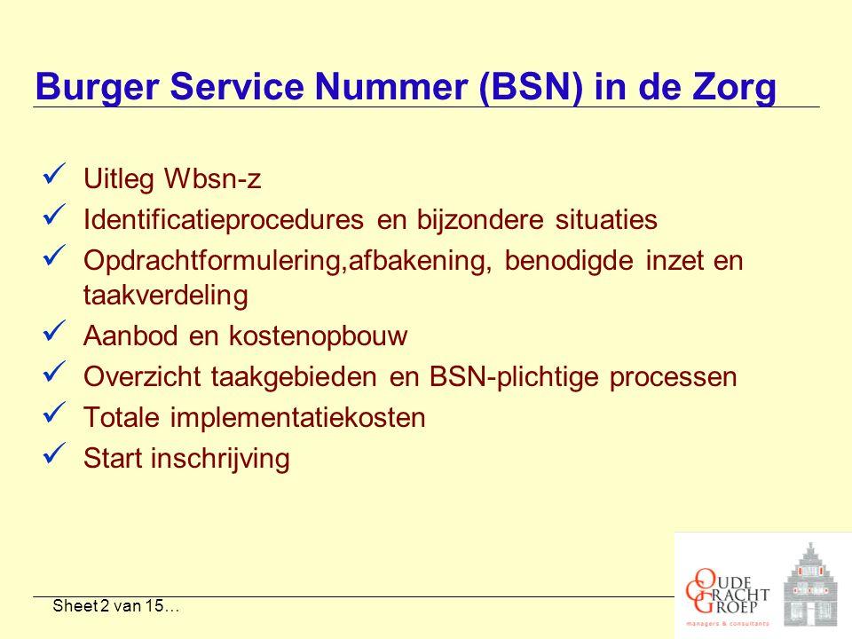 Sheet 2 van 15… Burger Service Nummer (BSN) in de Zorg Uitleg Wbsn-z Identificatieprocedures en bijzondere situaties Opdrachtformulering,afbakening, b