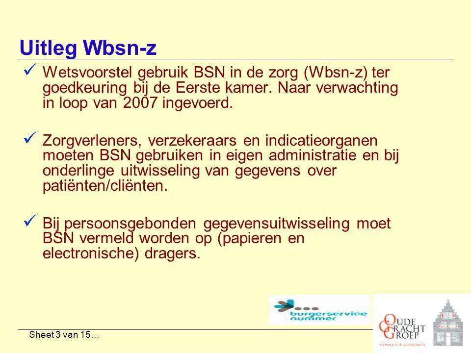 Sheet 3 van 15… Uitleg Wbsn-z Wetsvoorstel gebruik BSN in de zorg (Wbsn-z) ter goedkeuring bij de Eerste kamer. Naar verwachting in loop van 2007 inge
