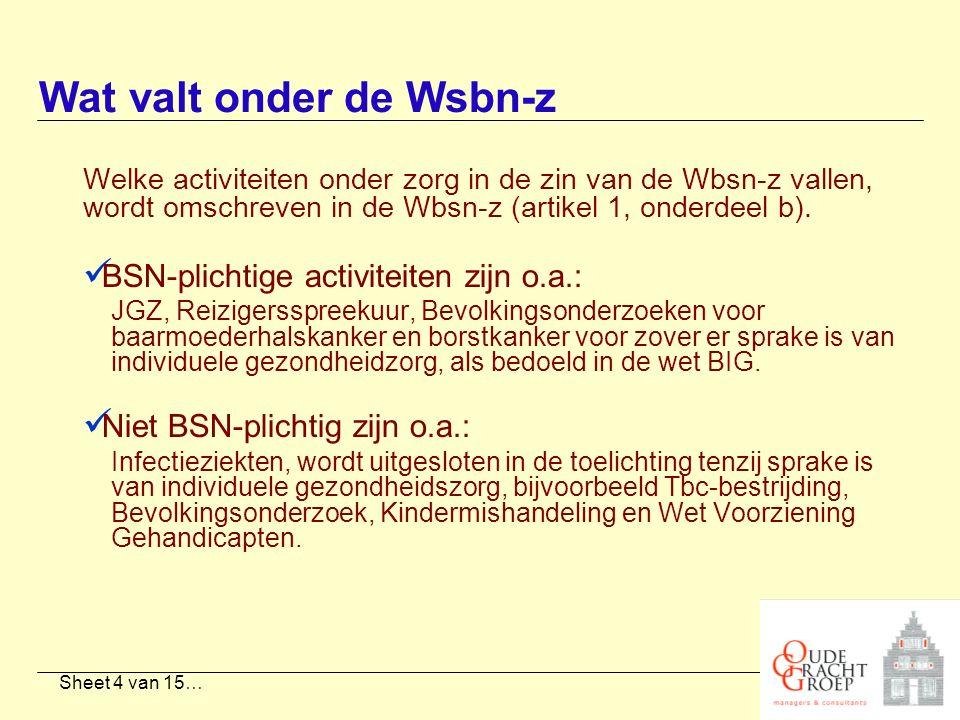 Sheet 4 van 15… Welke activiteiten onder zorg in de zin van de Wbsn-z vallen, wordt omschreven in de Wbsn-z (artikel 1, onderdeel b). BSN-plichtige ac