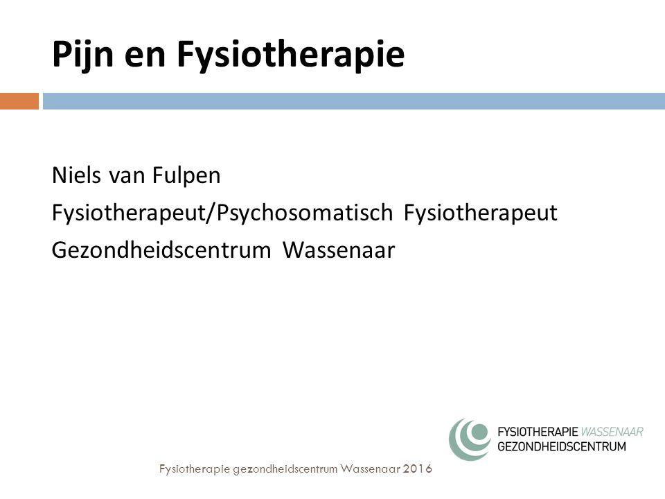 Pijn en Fysiotherapie Niels van Fulpen Fysiotherapeut/Psychosomatisch Fysiotherapeut Gezondheidscentrum Wassenaar Fysiotherapie gezondheidscentrum Wassenaar 2016