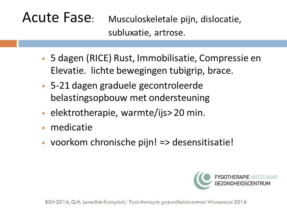 Acute Fase : Musculoskeletale pijn, dislocatie, subluxatie, artrose.