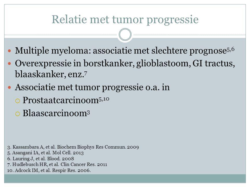 Relatie met tumor progressie Multiple myeloma: associatie met slechtere prognose 5,6 Overexpressie in borstkanker, glioblastoom, GI tractus, blaaskanker, enz.