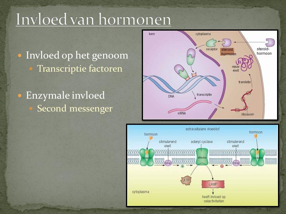 Invloed op het genoom Transcriptie factoren Enzymale invloed Second messenger