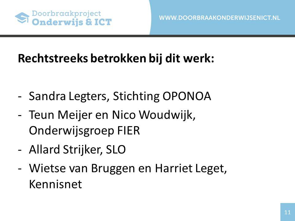 11 Rechtstreeks betrokken bij dit werk: -Sandra Legters, Stichting OPONOA -Teun Meijer en Nico Woudwijk, Onderwijsgroep FIER -Allard Strijker, SLO -Wietse van Bruggen en Harriet Leget, Kennisnet