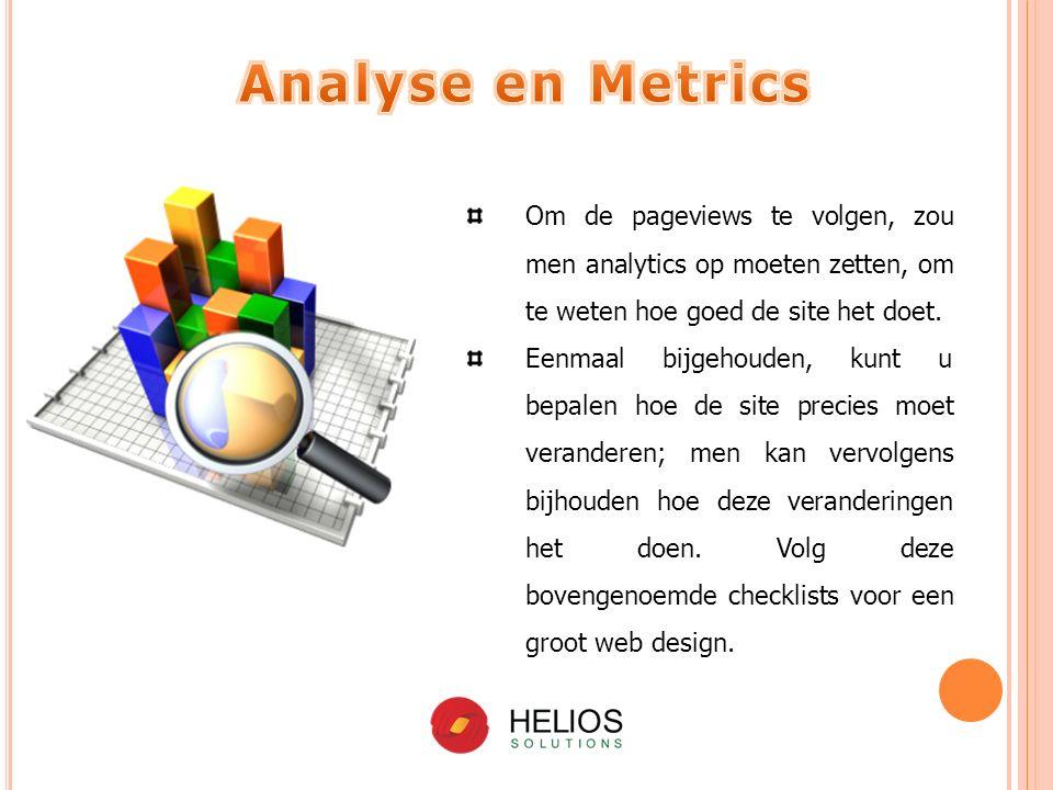 Om de pageviews te volgen, zou men analytics op moeten zetten, om te weten hoe goed de site het doet.