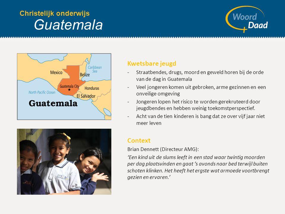 Kwetsbare jeugd -Straatbendes, drugs, moord en geweld horen bij de orde van de dag in Guatemala -Veel jongeren komen uit gebroken, arme gezinnen en een onveilige omgeving -Jongeren lopen het risico te worden gerekruteerd door jeugdbendes en hebben weinig toekomstperspectief.