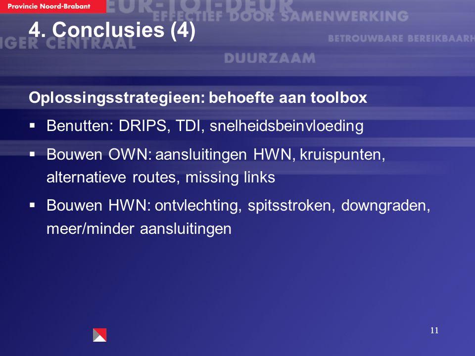 11 4. Conclusies (4) Oplossingsstrategieen: behoefte aan toolbox  Benutten: DRIPS, TDI, snelheidsbeinvloeding  Bouwen OWN: aansluitingen HWN, kruisp