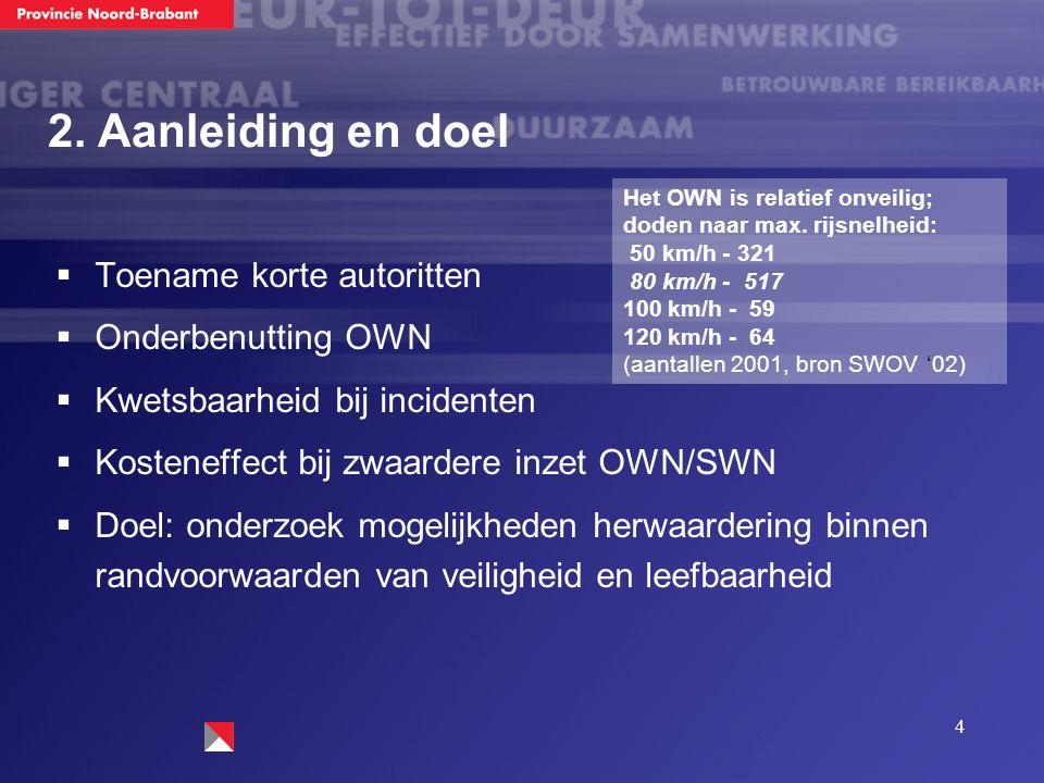 4  Toename korte autoritten  Onderbenutting OWN  Kwetsbaarheid bij incidenten  Kosteneffect bij zwaardere inzet OWN/SWN  Doel: onderzoek mogelijk