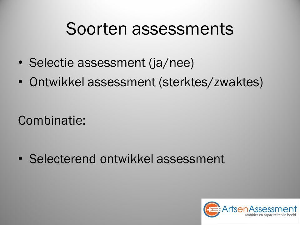 Soorten assessments Selectie assessment (ja/nee) Ontwikkel assessment (sterktes/zwaktes) Combinatie: Selecterend ontwikkel assessment
