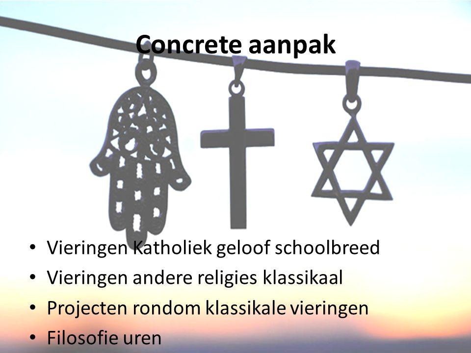 Concrete aanpak Vieringen Katholiek geloof schoolbreed Vieringen andere religies klassikaal Projecten rondom klassikale vieringen Filosofie uren