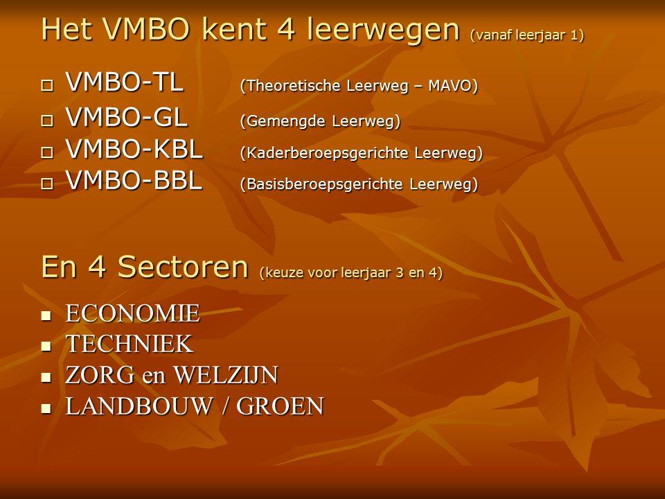 Het VMBO kent 4 leerwegen (vanaf leerjaar 1)  VMBO-TL (Theoretische Leerweg – MAVO)  VMBO-GL (Gemengde Leerweg)  VMBO-KBL (Kaderberoepsgerichte Leerweg)  VMBO-BBL (Basisberoepsgerichte Leerweg) En 4 Sectoren (keuze voor leerjaar 3 en 4) ECONOMIE ECONOMIE TECHNIEK TECHNIEK ZORG en WELZIJN ZORG en WELZIJN LANDBOUW / GROEN LANDBOUW / GROEN