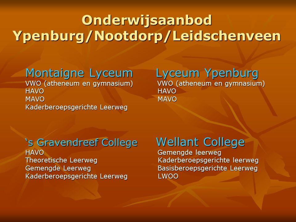Onderwijsaanbod Ypenburg/Nootdorp/Leidschenveen Montaigne Lyceum Lyceum Ypenburg VWO (atheneum en gymnasium) VWO (atheneum en gymnasium) HAVO HAVO MAV