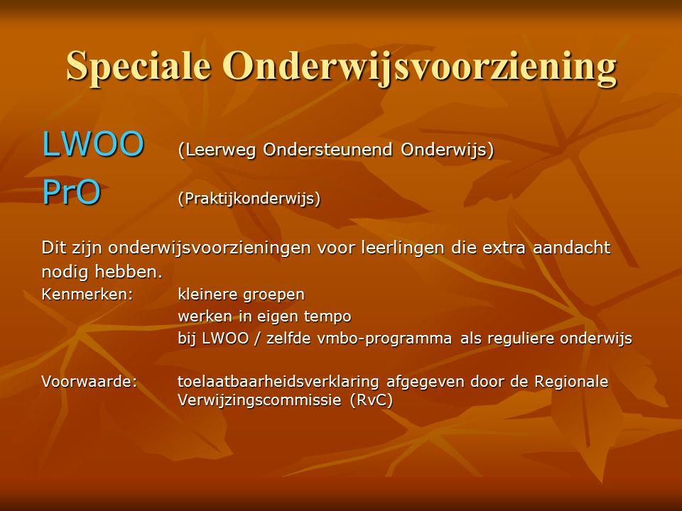 Speciale Onderwijsvoorziening LWOO (Leerweg Ondersteunend Onderwijs) PrO (Praktijkonderwijs) Dit zijn onderwijsvoorzieningen voor leerlingen die extra aandacht nodig hebben.